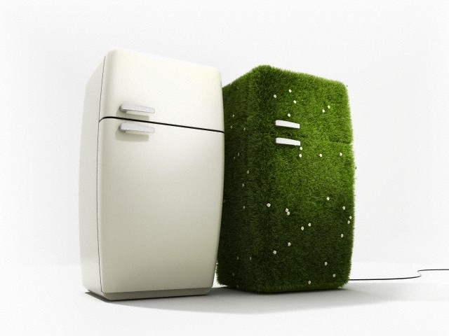 pair of refrigerators, one with grass surface