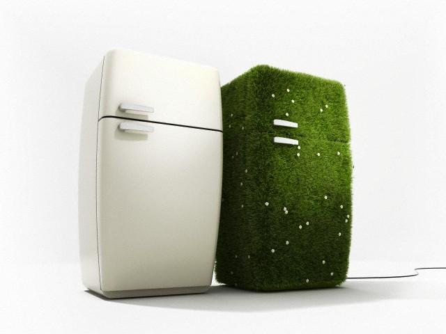 пара холодильников, зеленый холодильник, эко холодильник